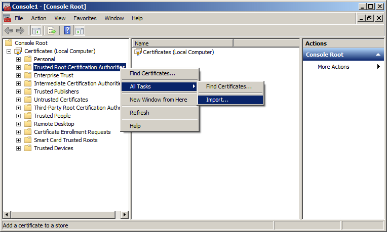 How To Import Intermediate And Root Certificates Via Mmc Ssl