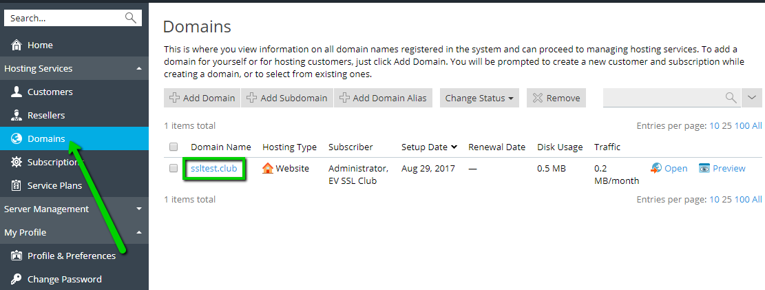 Installing an SSL certificate on Plesk Onyx - Hosting