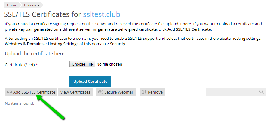 Installing an SSL certificate on Plesk Onyx - Namecheap.com