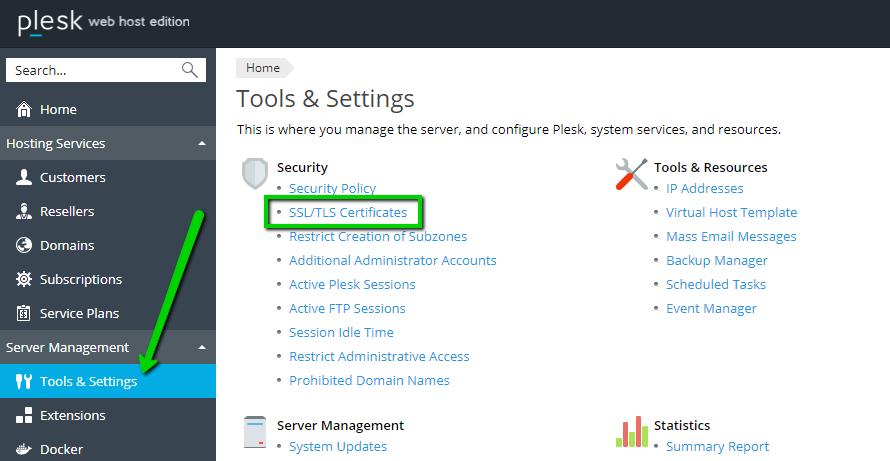 Installing an SSL certificate on Plesk Onyx - Hosting - Namecheap com