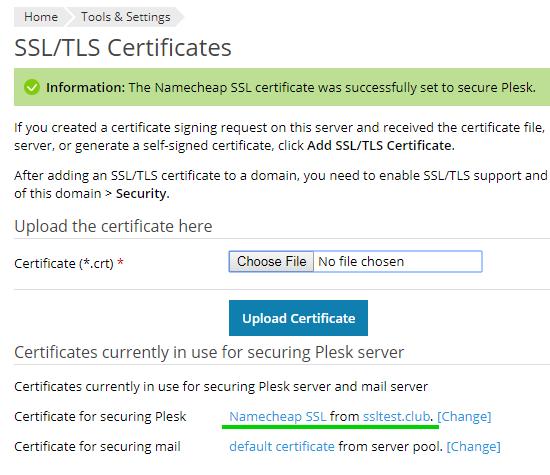 Installing an SSL certificate on Plesk Onyx - Namecheap.com
