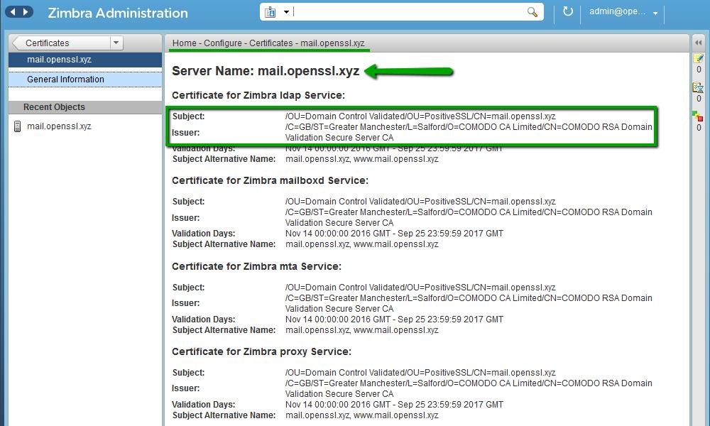 Installing an SSL certificate on Zimbra - Hosting - Namecheap com