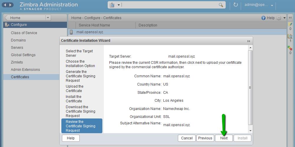 Installing A Ssl Certificate On Zimbra Namecheap