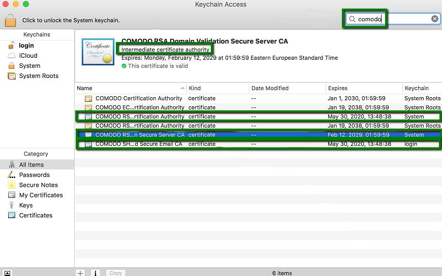 Installing an SSL certificate on Mac OS X/Yosemite/El