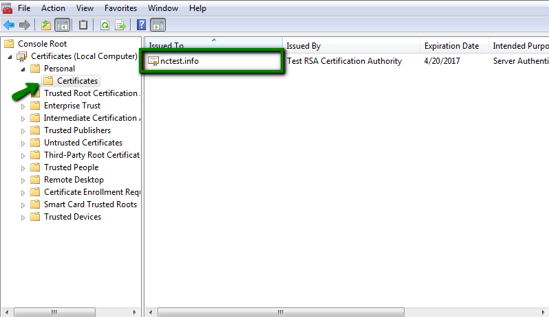 SSL disappears from the certificate list on Windows server