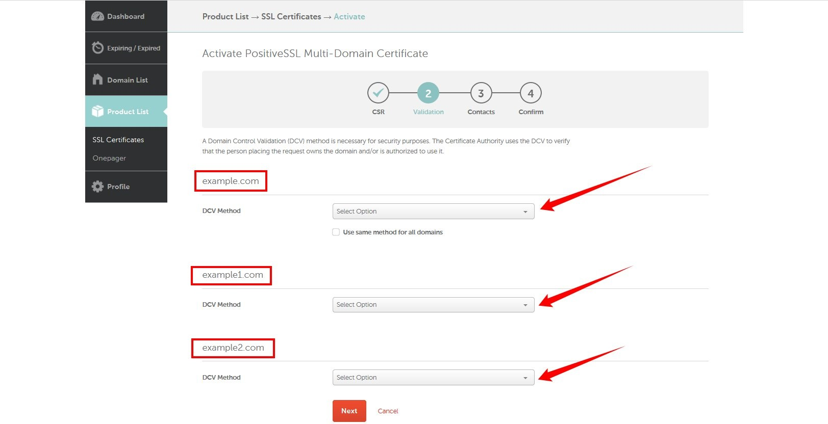 How do i activate a multi domain ssl certificate activatio there are three methods available for domain control validation email based dns based and http based one xflitez Choice Image