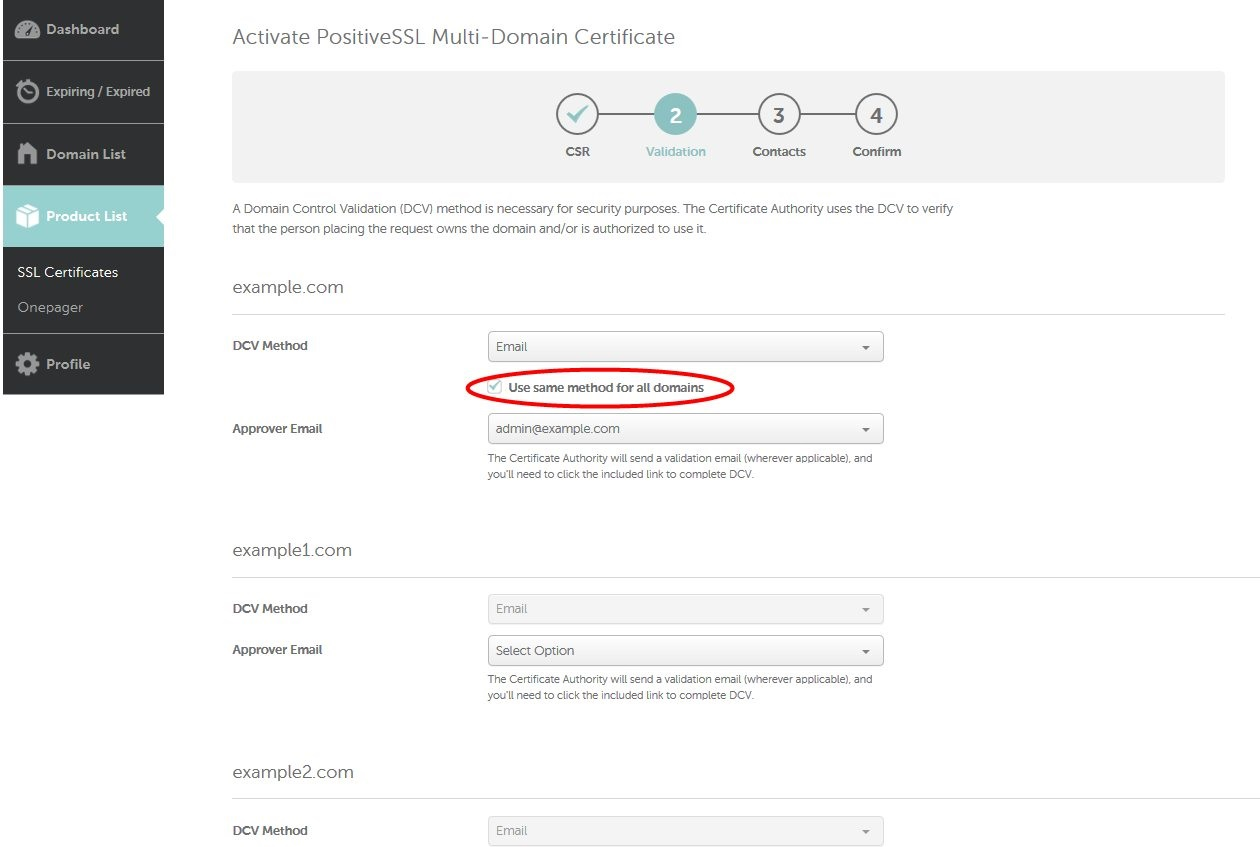 How do i activate a multi domain ssl certificate activatio note in order to have a multi domain certificate validated and issued it is necessary to complete the validation process for every san separately receive xflitez Gallery