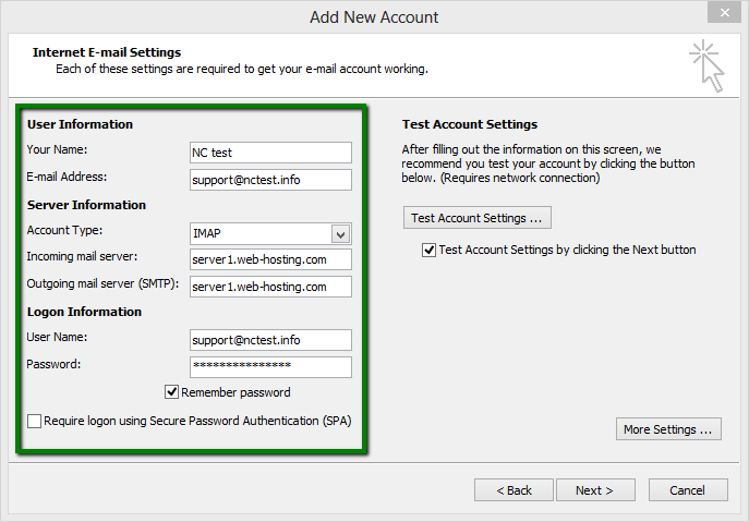 cPanel email account setup in Microsoft Outlook 2007-2010