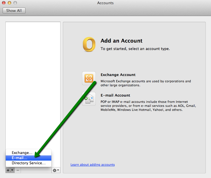 Private Email account setup in Microsoft Outlook for OS X