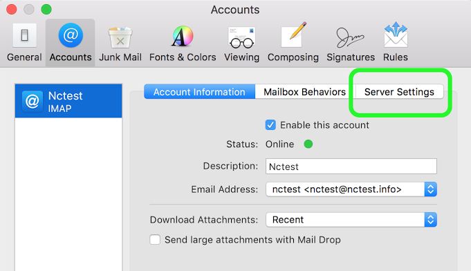 Private Email account setup in Mail on macOS Sierra/Mojave (SMTP/IMAP)