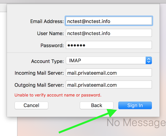 Private Email account setup in Mail on macOS Sierra/Mojave