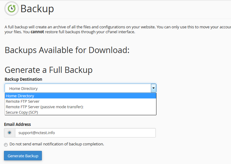 How to create and restore backups in cPanel - Hosting