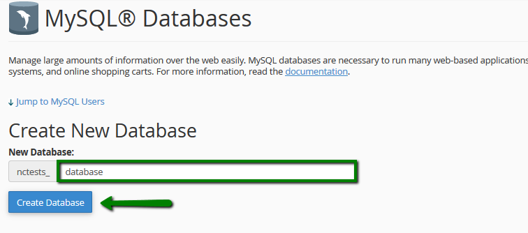 the database is created and ready to use now in order to be able to fill and maintain the database mysql user should be created and assigned to the