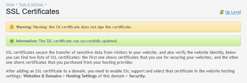 Warning on Plesk: The CA certificate does not sign the certificate