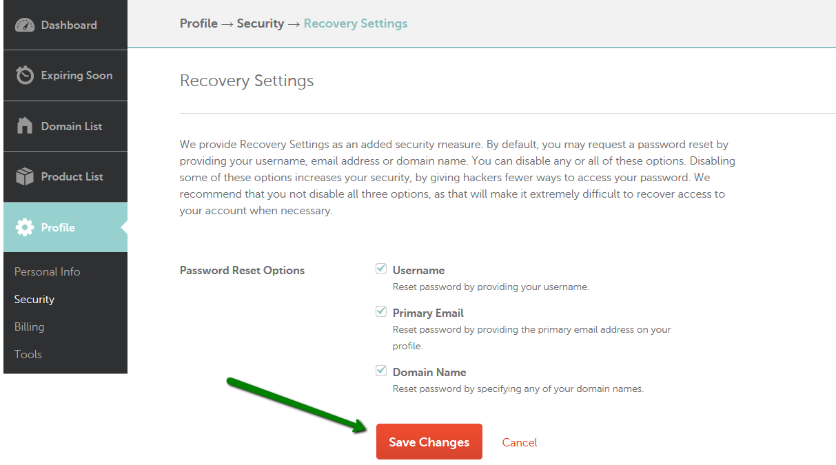 Changing Password Reset Settings - My Account - Namecheap com