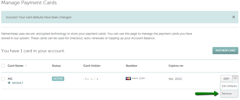 How do I attach a card to my account? - Checkout & Billing - Namecheap