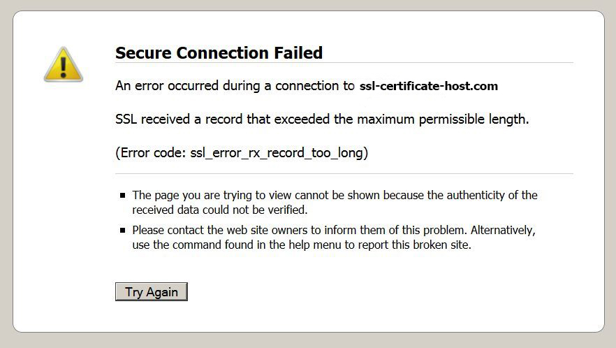 Firefox error code: ssl_error_rx_record_too_long - SSL