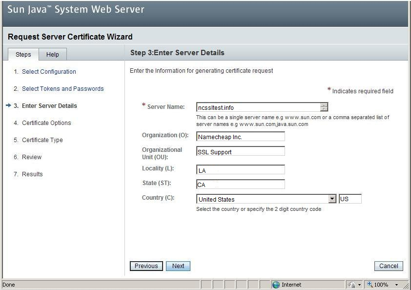 Generating a CSR on Sun Java System Web Server 7 x - SSL Certificates