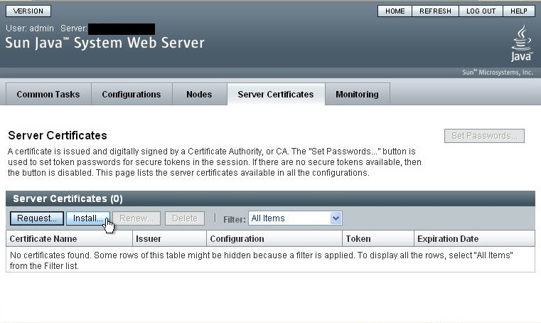 Installing an SSL Certificate on Sun Java System Web Server 7 x