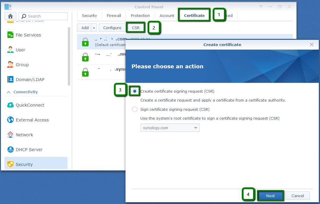 Domain & CSR code setup for Synology NAS - SSL Certificates