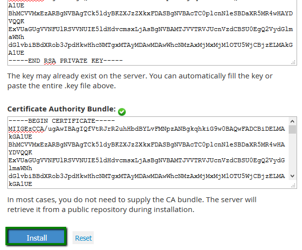 Installing an SSL Certificate using WHM - SSL Certificates