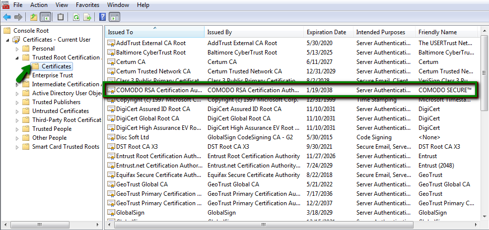 Incomplete certificate chain on Windows servers - SSL