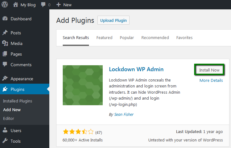 Install and activate Lockdown WP Admin plugin: