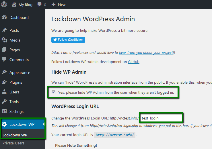 Go to Lockdown WP panel and enable Hide WP admin feature, enter the desired  login URL then: